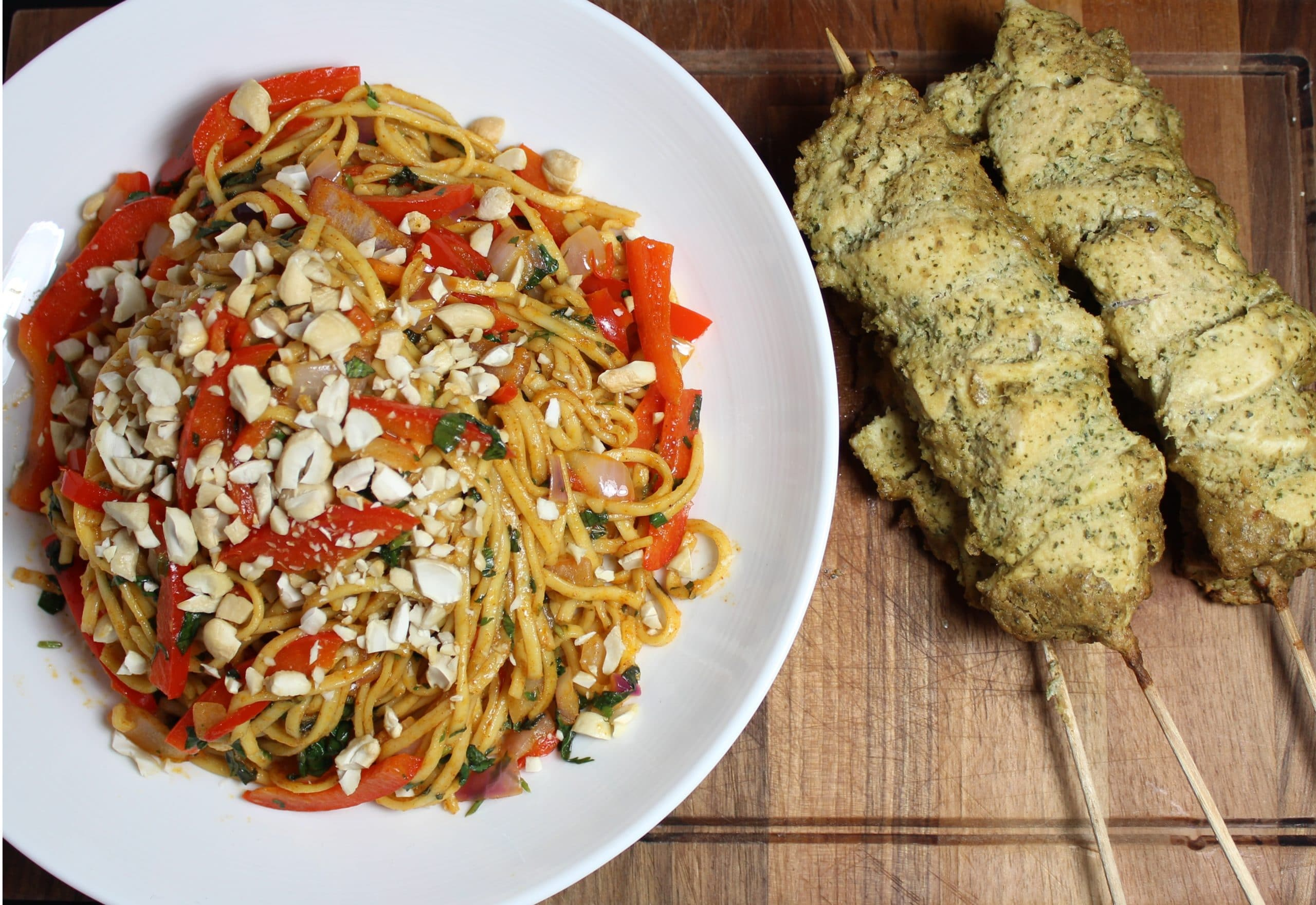Chicken satay skewers with crunchy noodle salad