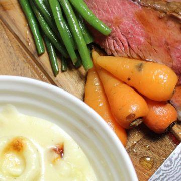 Topside beef roast dinner leeks in cheese sauce