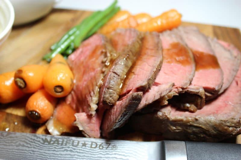 Topside of beef roast dinner