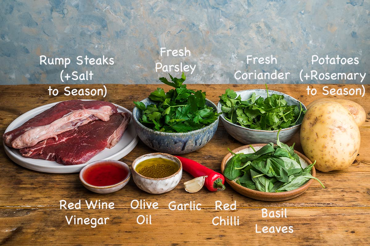 Ingredients needed to make chimichurri steak platter.