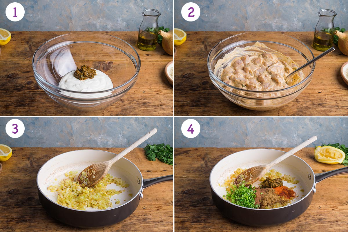 Four images showing how to make chicken tikka masala step by step for steps 1-4.