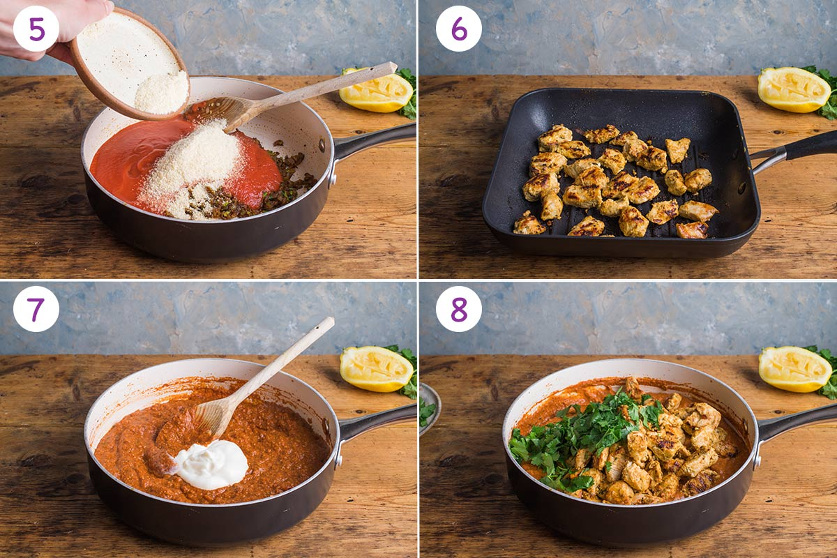 Four images showing how to make chicken tikka masala step by step for steps 5-8.