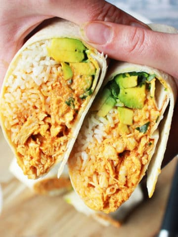 Chicken burritos with homemade chipotle sauce
