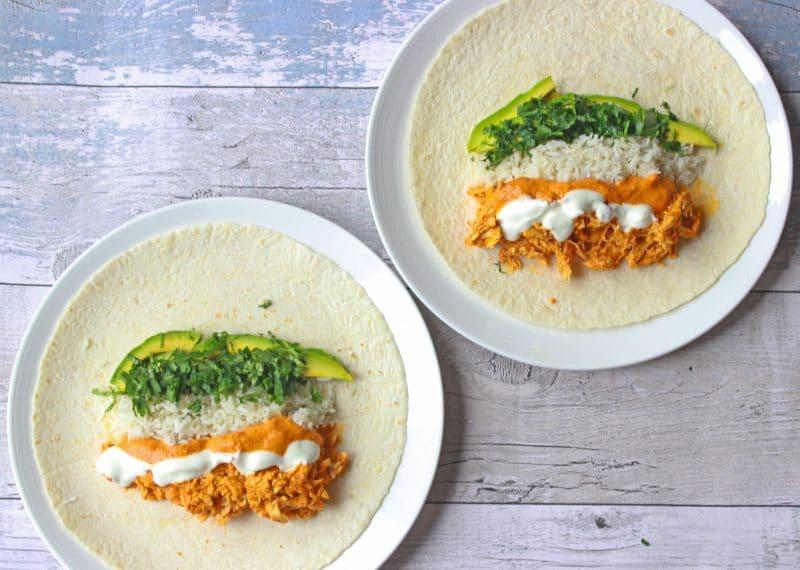 chipotle chicken burritos open