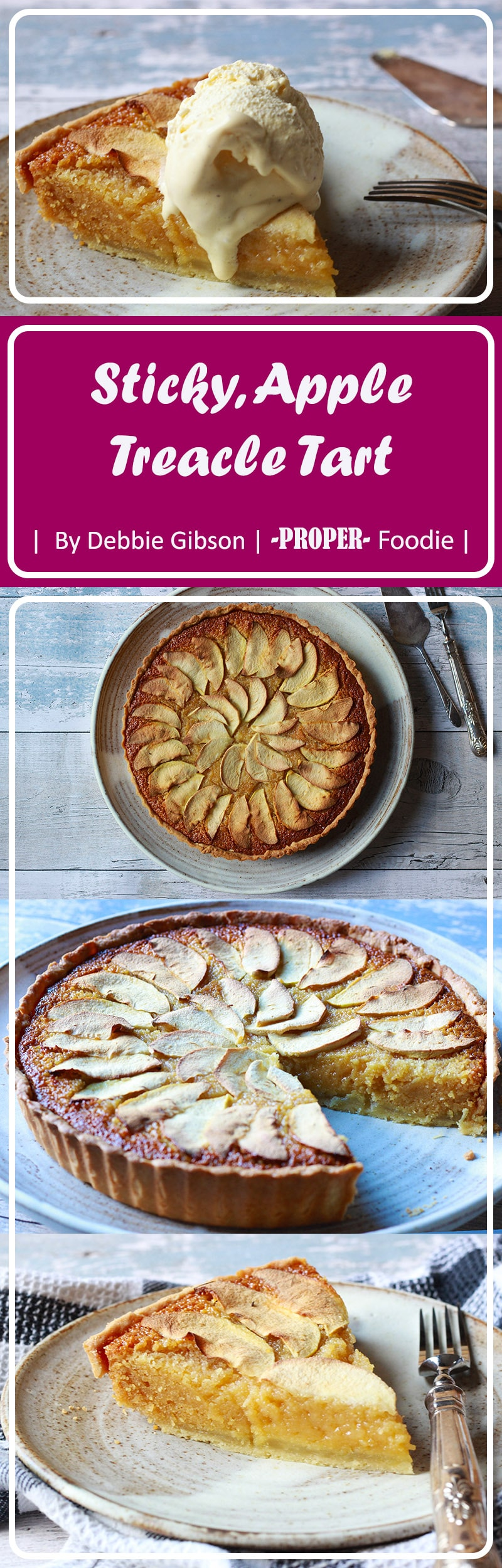 A delightful autumnal dessert with stewed apples, a treacle filling, warming syrupy flavours and a crumbly, sweet pastry base.