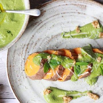 celery, apple and walnut pesto with sweet potato