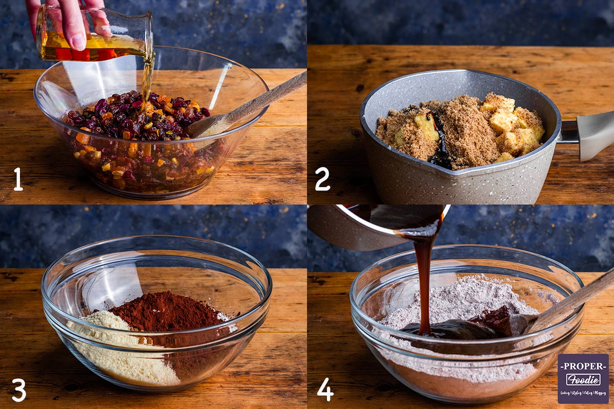 four images showing how to make Christmas cake step by step for instructions 1-4.