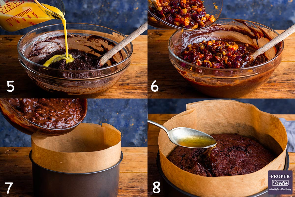 four images showing how to make Christmas cake step by step for instructions 5-8.