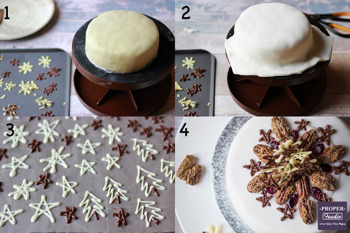 Four images showing how to ice and decorate a Christmas cake step by step for instructions 1-4