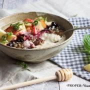 fruit honey and cacao porridge