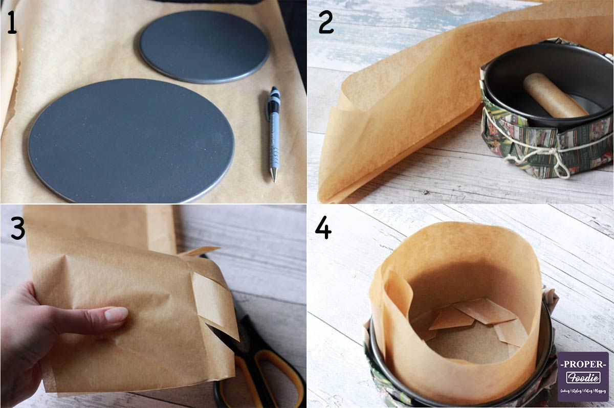 Four images showing how to line a cake tin step by step.