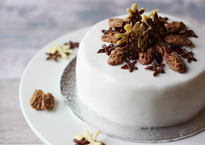 properfoodie christmas cake iced and finished with sugared pecans