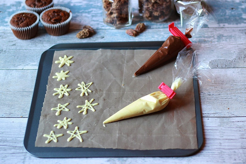 white chocolate star decorations