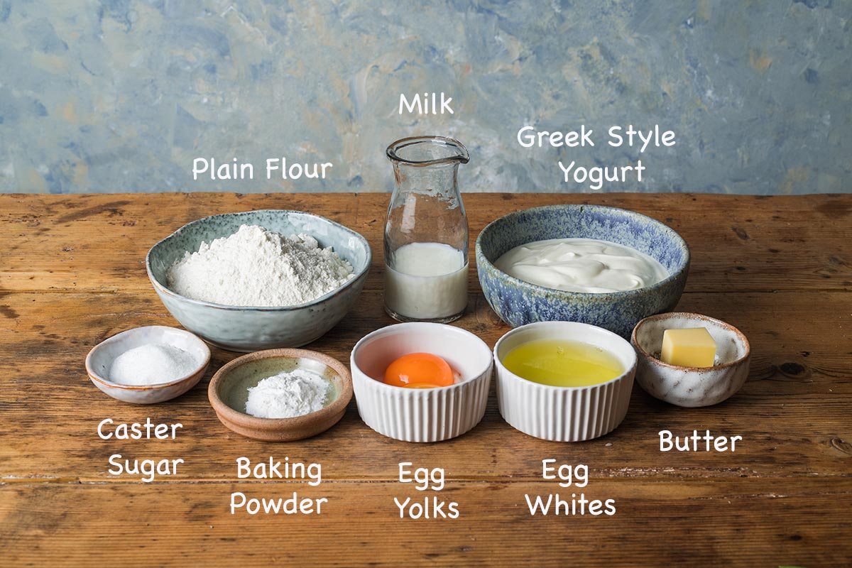A display of the ingredients needed to make American style pancakes with text overlay stating each ingredients