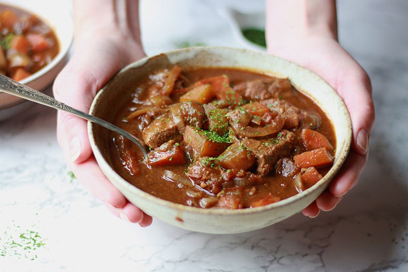 slow cooker beef stew with carrot and swede