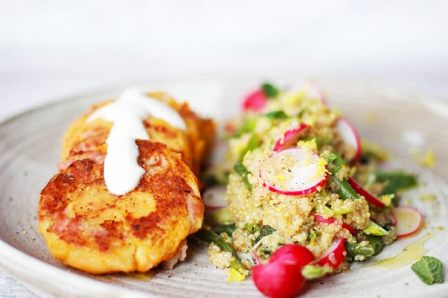 sweet potato cakes with quinoa salad