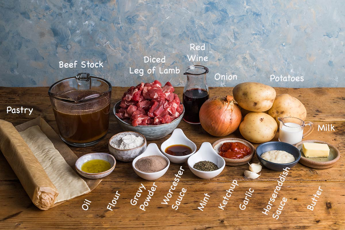 Ingredients for making lamb pie recipe