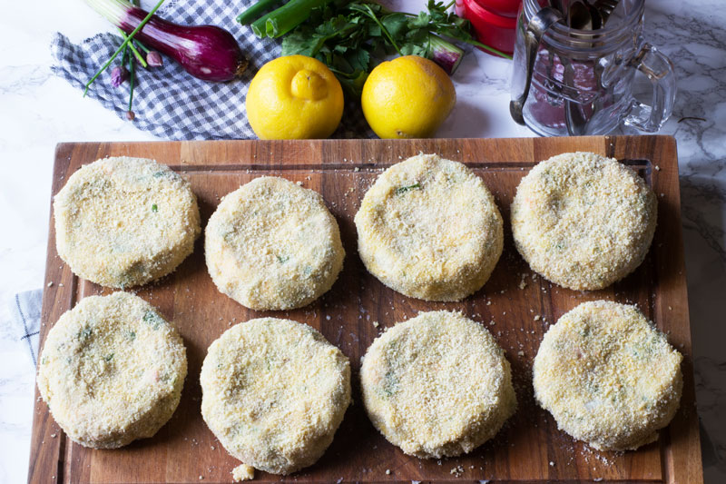 fishcakes dipped in flour eggs and breadcrumbs