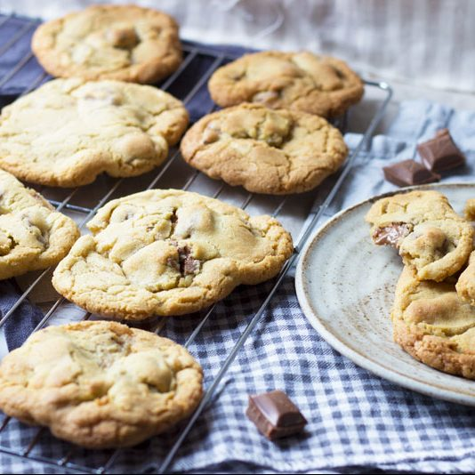 Soft Bake Chocolate Chip Cookies Made With Chunks Of Dairy Milk Chocolate
