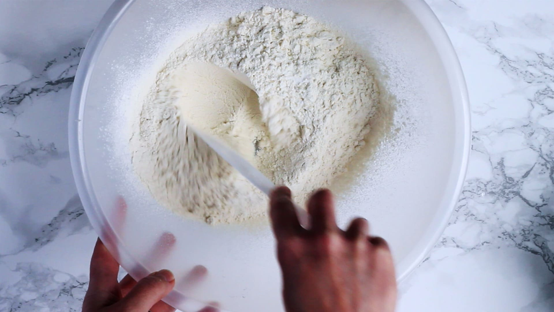 mixing together dry ingredients