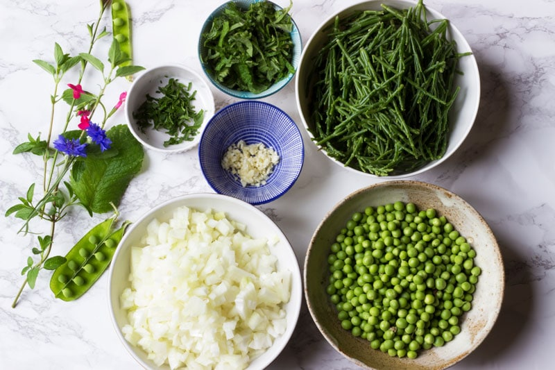 pea and samphire soup ingredients