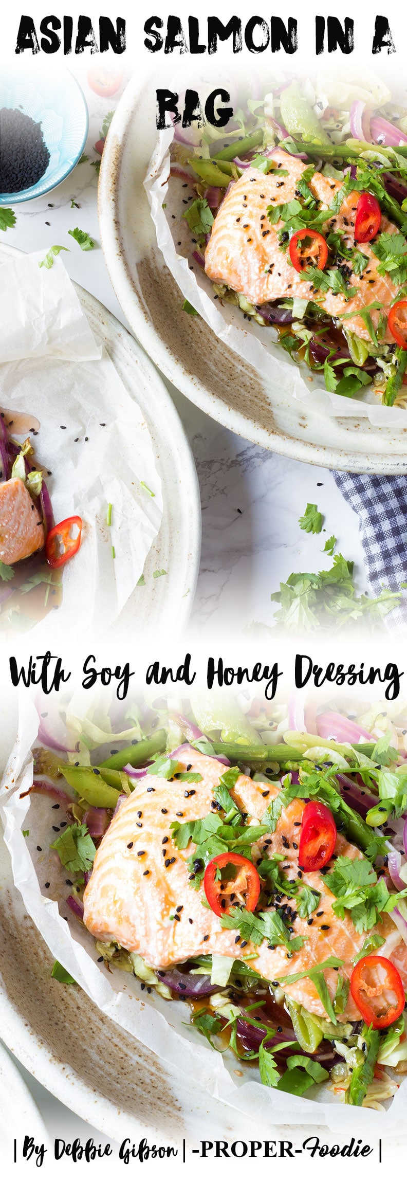 Asian salmon in a bag with soy and honey dressing