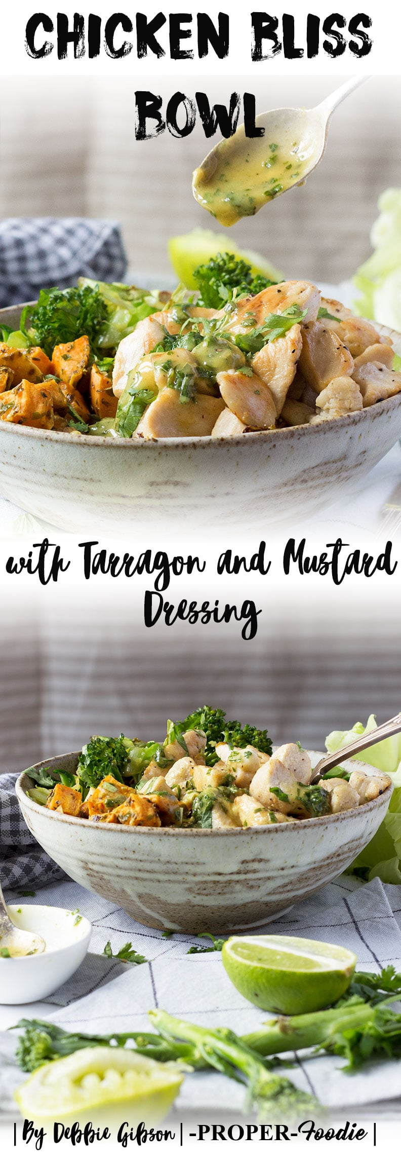 Chicken bliss bowls with tarragon and mustard dressing