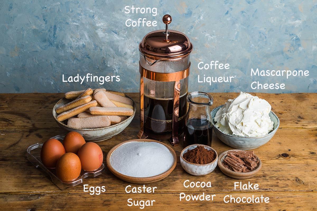 Ingredients needed to make a traditional tiramisu recipe.