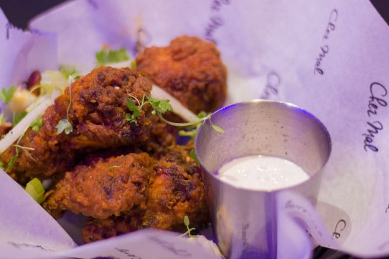 Buttermilk fried buffalo wings with blue cheese dip