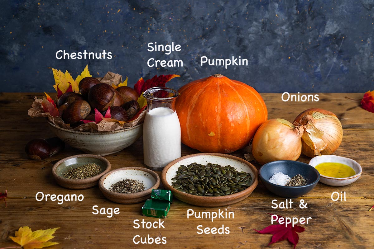 The ingredients required to make spiced pumpkin soup, labelled with white text.
