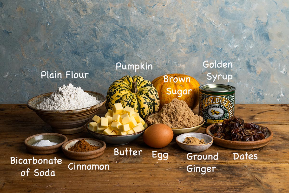 Ingredients to make pumpkins muffins with text overlay: plain flour, pumpkin, brown sugar, golden syrup, dates, ground ginger, egg, butter, cinnamon, bicarb of soda.