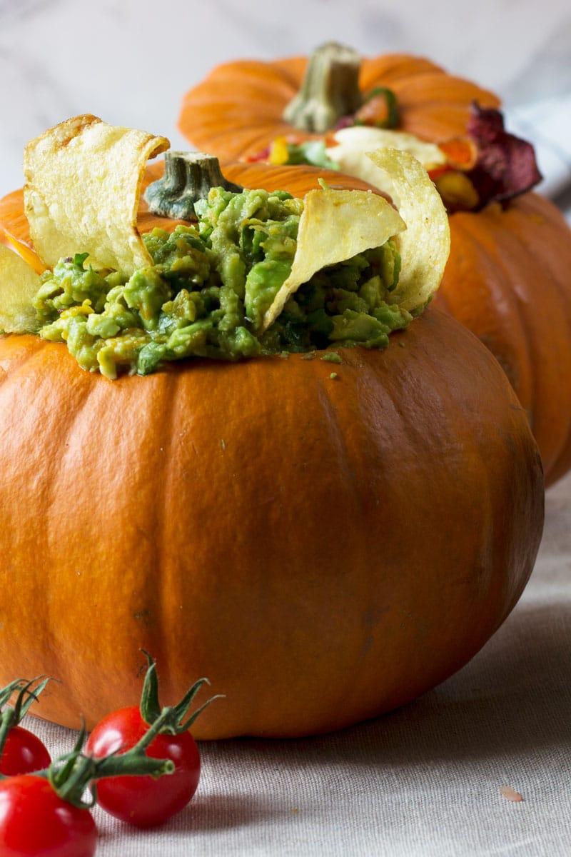 amica crisps with pumpkin avocado dip