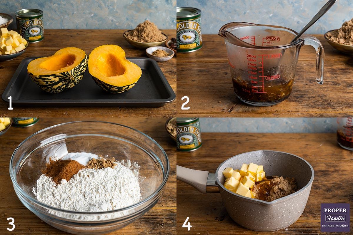 4 images showing steps 1-4 for making pumpkin muffins: 1. roast pumpkin, 2. soak dates, 3. mix dry ingredients, 4. melt butter, sugar and syrup.