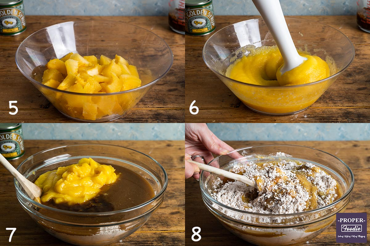 4 images showing steps 5-8 for making pumpkin muffins: 5. slice roasted pumpkin, 6. blend pumpkin, 7. add wet to dry ingredients, 8. mix