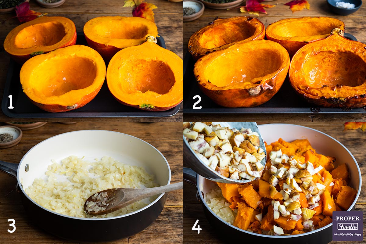 A collage of four step by step images of how to make the first part of the pumpkin soup recipe. 1. prepare pumpkin, 2. roast pumpkin, 3. fry onions, 4. add roast pumpkin and chopped chestnuts to onions.