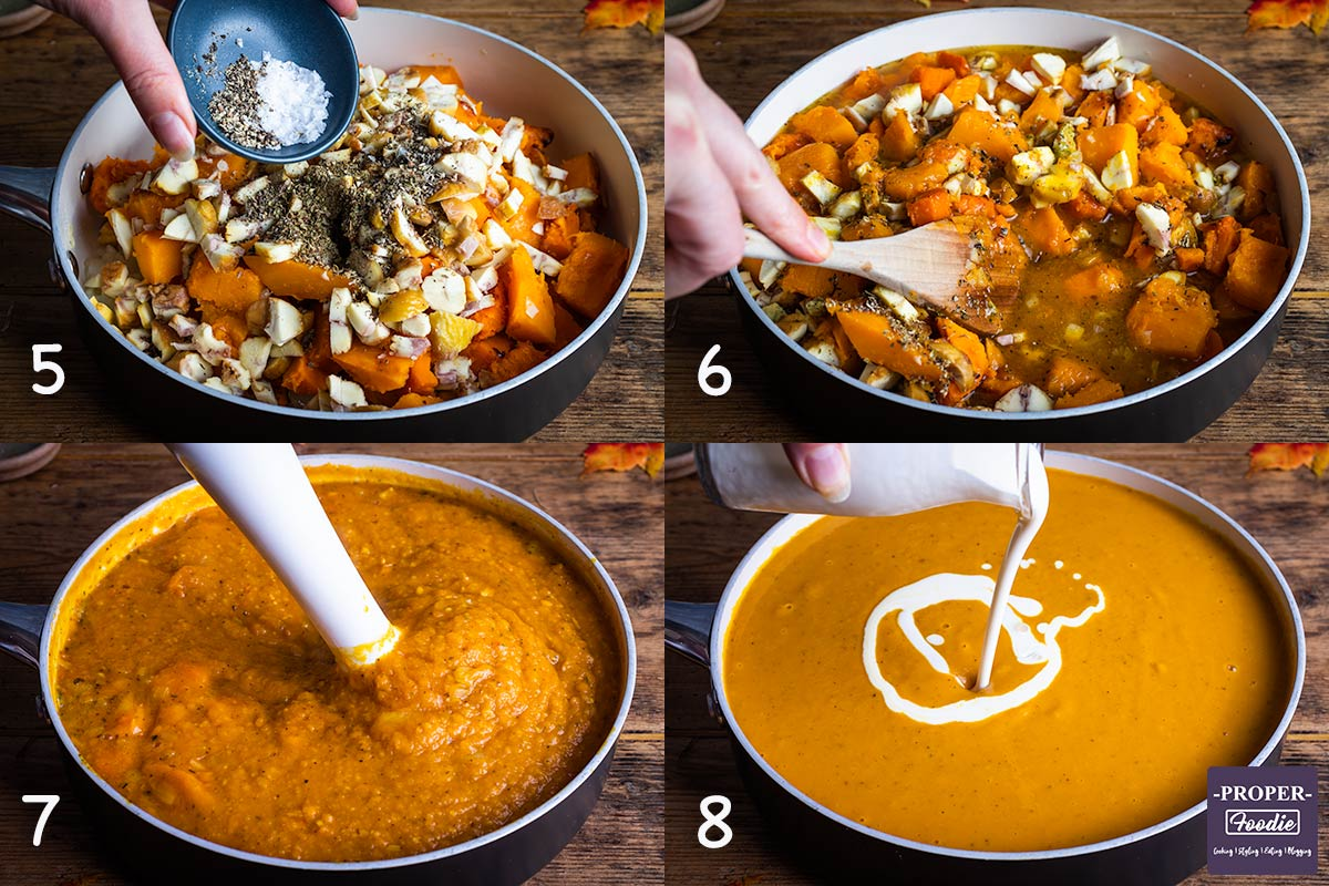Second 4 step by step instruction images for making pumpkin soup: 5. add spices, 6. add stock, 7. blend, 8. add cream.