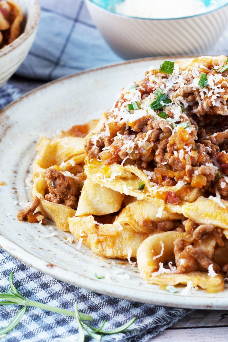 salami bolognese with homemade tagliatelle