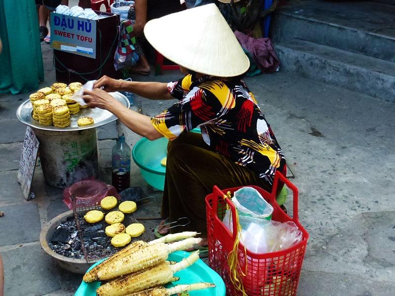 Vietnam street food bbq corncakes