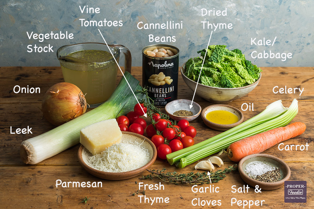 Ingredients needed to make this recipe displayed on a table with text labels