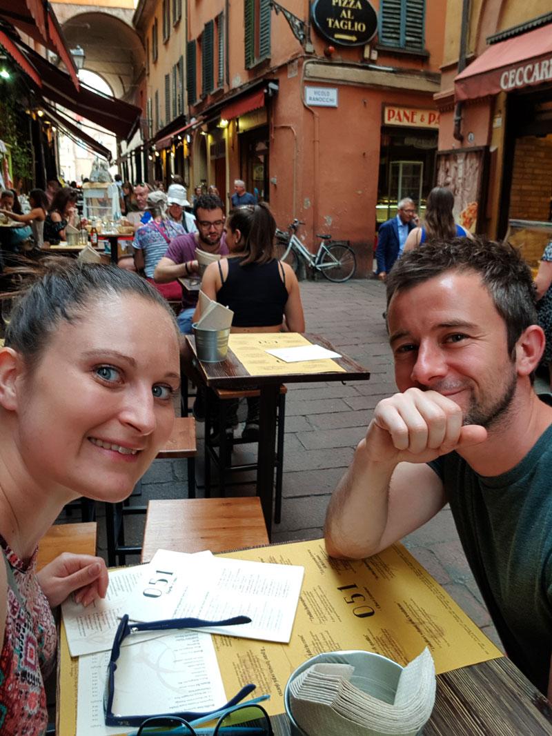 debbie and ben at zerocinquantino in Bologna