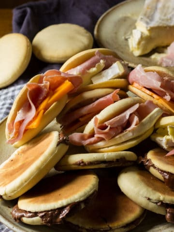 Italian Tigella with cheese and ham filling