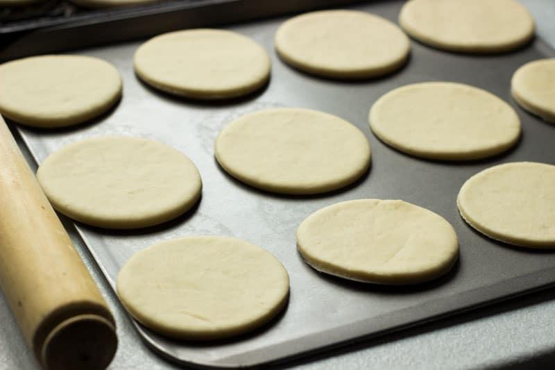 Tigella dough cut into Tigella circles