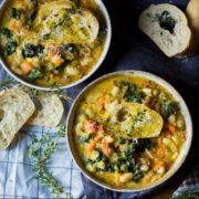 white bean and black kale ribollita soup