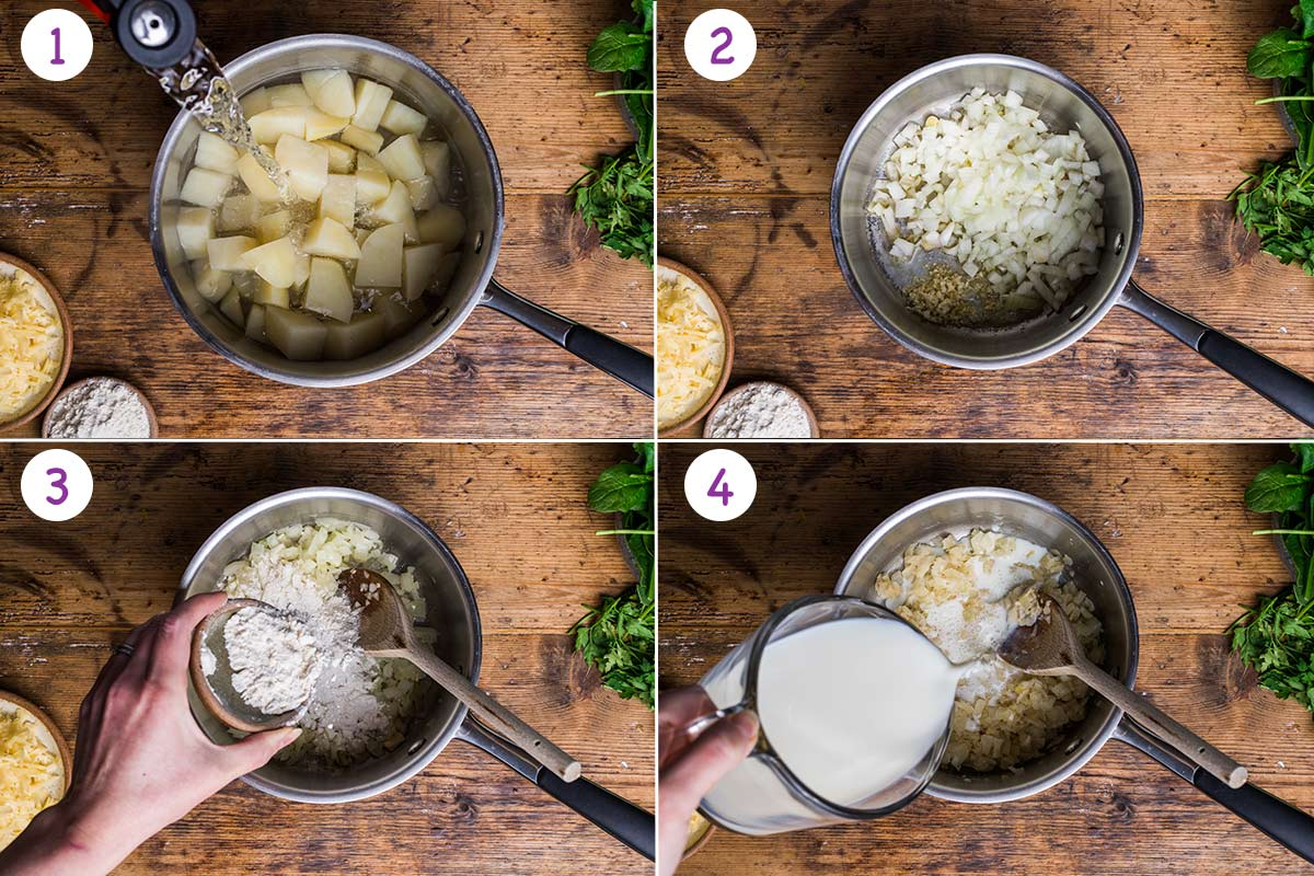 A collage of 4 images showing how to make this pie step by step for instructions 1-4.