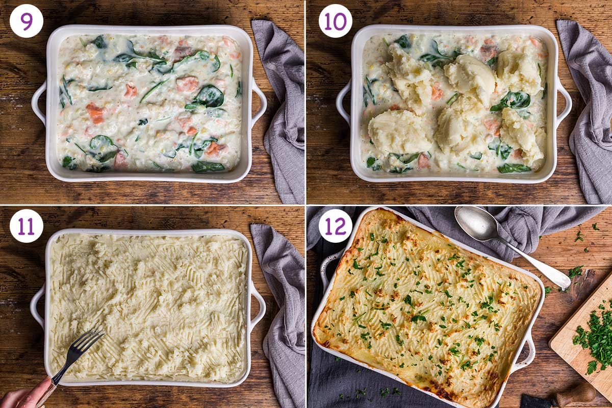 A collage of 4 images showing how to make this pie recipe step by step for instructions 9-12.