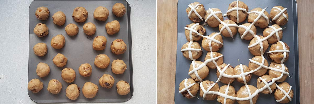 collage of 2 images showing how to arrange the dough balls and how to pipe on the crosses before baking