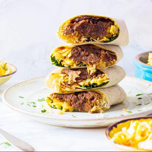 beef brisket burritos with coleslaw