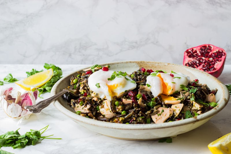 giant wild rice salad with salmon and poached egg