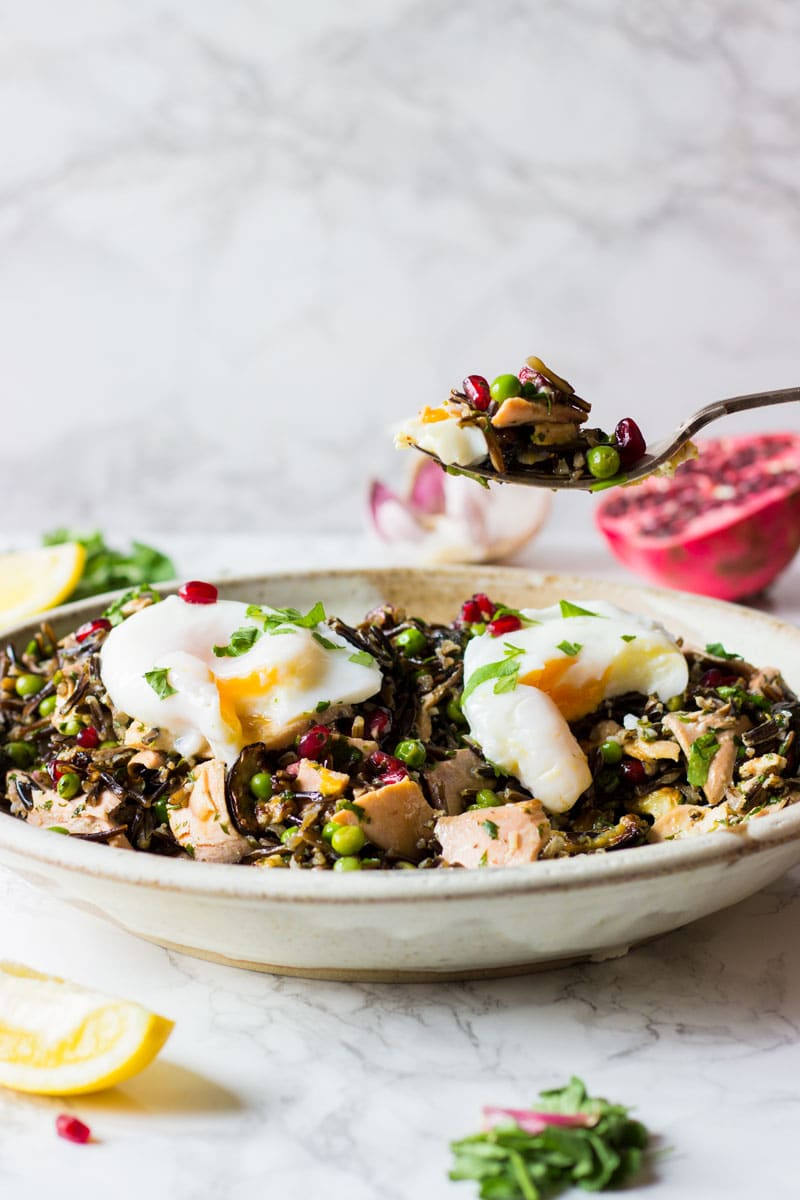 wild rice and garlic salad with salmon and egg