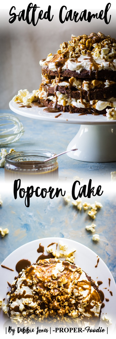 salted caramel popcorn cake made with sticky toffee sponge